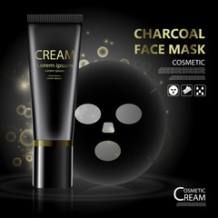 Luxury cosmetic Bottle package skin care cream, Charcoal face mask, Beauty cosmetic product poster, with bokeh background