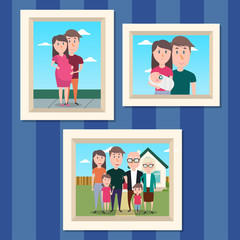 Family photos in the frames. Happy moments of family life
