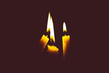 Candle light on black background