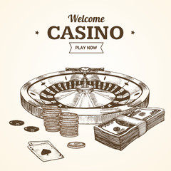 Casino Card or Poster witch Roulette Wheel Hand Draw Sketch. Vector