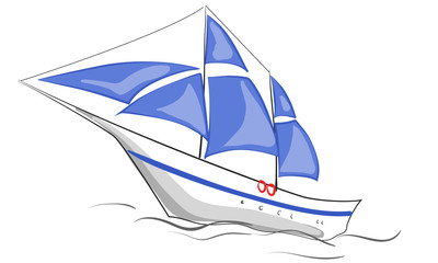 Boat with blue sails