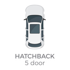Five Doors Hatchback Top View Flat Vector Icon