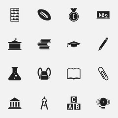 Set Of 16 Editable University Icons. Includes Symbols Such As Staple, Library, First Place And More. Can Be Used For Web, Mobile, UI And Infographic Design.