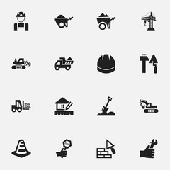 Set Of 16 Editable Building Icons. Includes Symbols Such As Truck, Employee, Trolley And More. Can Be Used For Web, Mobile, UI And Infographic Design.