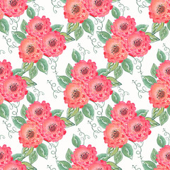 Colorful seamless floral watercolor illustration. Vintage hand drawn pink-orange, red flowers on a white background.