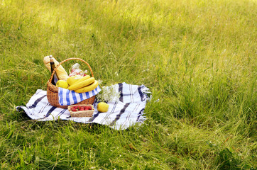 Picnic basket and strawberry
