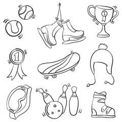 Doodle of sport equipment hand draw