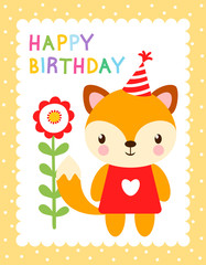 Cute vector illustration with a fox in the cap. Greeting card for birthday. Picture with a baby fox in children's style.