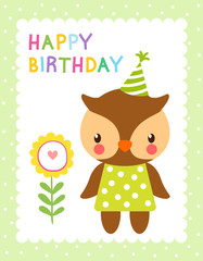 Greeting card with cute owl and flower. Vector illustration with bird in childrens style. Happy Birthday