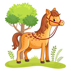 Cartoon horse standing in a meadow next to a tree. Vector illustration with cartoon animals.