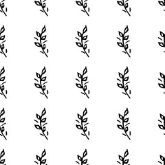 Hand Drawn brush flowers. Handmade seamless ornate for your