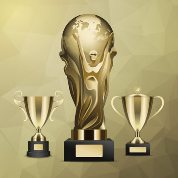 Gold Trophy with Man Holding Earth in Hands Vector