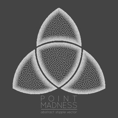 Vector illustration of abstract dotted symbol triquetra. Celtic sacred geometry sign made in stippling technique. Isolated halftone symbol. Pointillism.