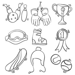 Sport equipment doodle style collection