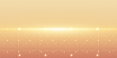 Vector infinite space background. Matrix of glowing stars with illusion of depth and perspective. Abstract cyber fiery sunrise. Abstract futuristic universe on light orange background.