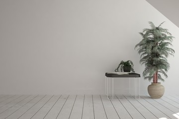 White empty room with flower. Scandinavian interior design. 3D illustration
