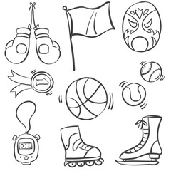Collection of sport equipment style doodles