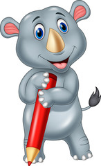 Cartoon rhino holding a pencil