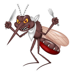 Cartoon mosquito ready for eat
