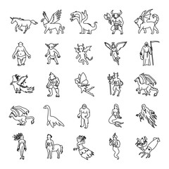 25 Mythical creatures outlines vector icons