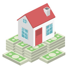 Isometric flat 3D vector House and real estate money investment.