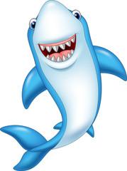 Cartoon smiling shark isolated on white background