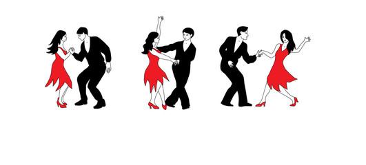 Dance Set - illustration of dancers in black and red.