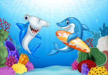 Cartoon sharks with tropical underwater background