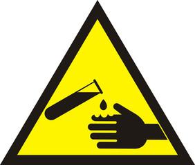 Corrosive Warning Sign. Warning acid sign.