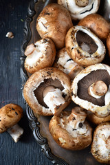 Frush Button Mushrooms on rustic wood