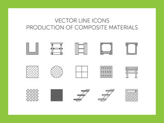 Vector icons of composite materials