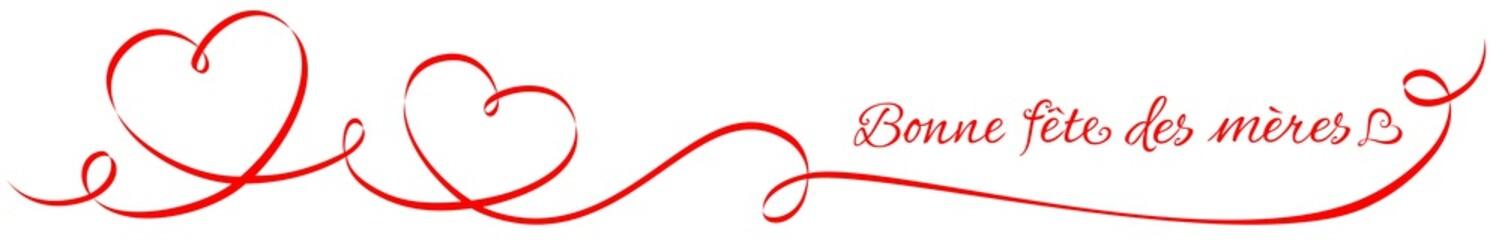 Ornement calligraphique à forme de coeur avec salutation - Bonne fête des mères