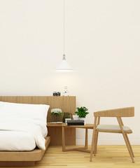 bedroom and living area in wooden design - 3d rendering