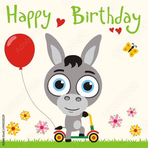 Happy Birthday Funny Donkey Going On Scooter With Red Balloon
