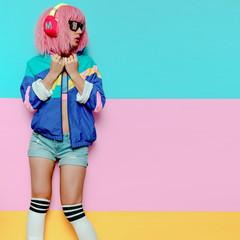 Stylish Girl DJ. Musical vibrations. Clubbing Minimal pop art