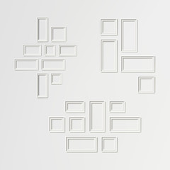Blank Picture Frame Template Composition Set Vector. White Photo Frames. Realistic Picture Frame. Modern Design Element For You Product Mock Up Or Presentation.