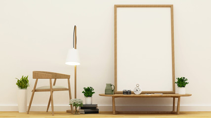 workspace or library area and frame for artwork - 3D Rendering