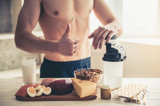 Man cooking healthy food