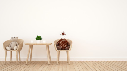 bear doll and giraffe doll on dining room or kid room - 3D Rendering