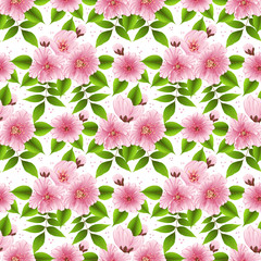 Vector sakura flower seamless pattern background. Elegant cherry blossom texture for backgrounds. Classical luxury old fashioned floral ornament, seamless texture for wallpapers, textile, wrapping.