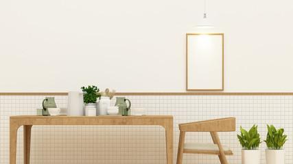 Dining room or cafe and frame for artwork - 3D Rendering
