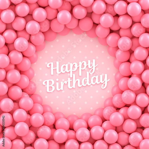 quotpink candy balls background with happy birthdayquot stock