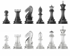 Transparent set of icons chess, isolated on white background, intelligent game, 3d rendering