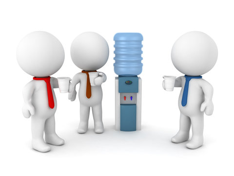 3D Illustration of office workers talking by the water cooler