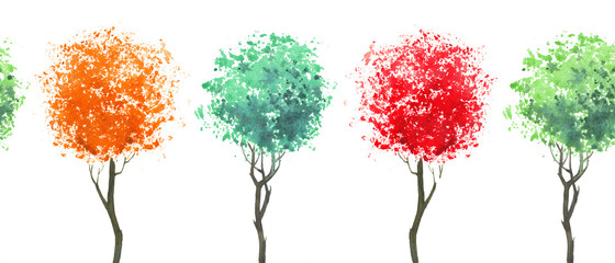 Seamless border of colorfull trees.