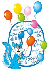 buon compleanno bambino numero 0 con scoiattolo