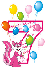 buon compleanno bambina numero 7 con scoiattolo
