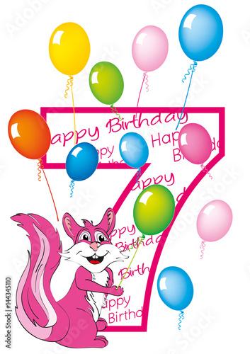 Buon Compleanno Bambina Numero 7 Con Scoiattolo Stock Image And