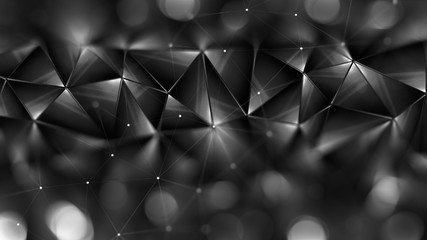 Abstract geometric background. 3D illustration..Polygonal glossy surface