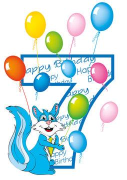 buon compleanno bambino numero 7 con scoiattolo